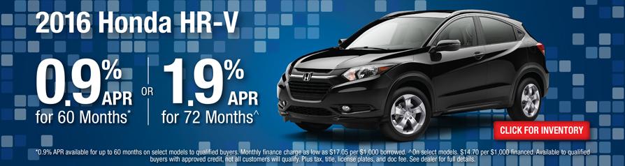 Honda HR-V 0.9 %APR for 60 months or 1.9% APR for 72 months