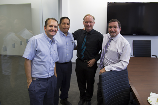 Jeff Moon, Ed Montanez, Ed Hill, and Bob Evans, Service Department