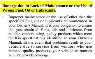 New Kia Fuel, Oil & Lubricants
