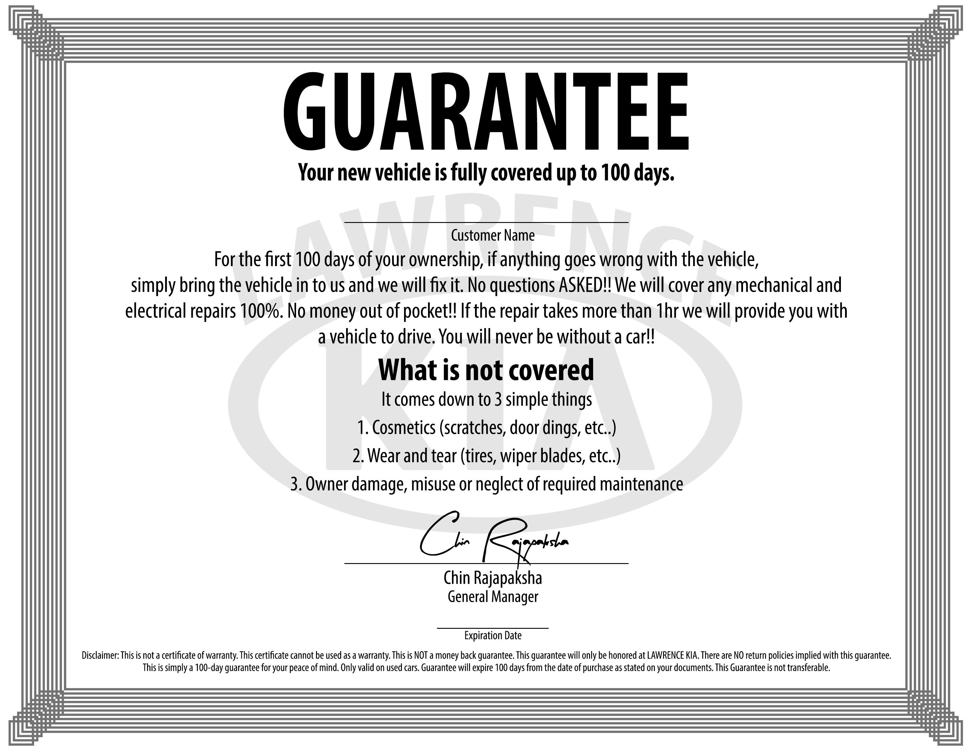 100 Day Used Car Guarantee