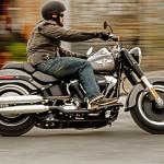 Rider on 2016 Softail Fat Boy Lo