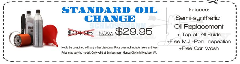 Oil change milwaukee schlossmann honda city for Honda oil change coupon
