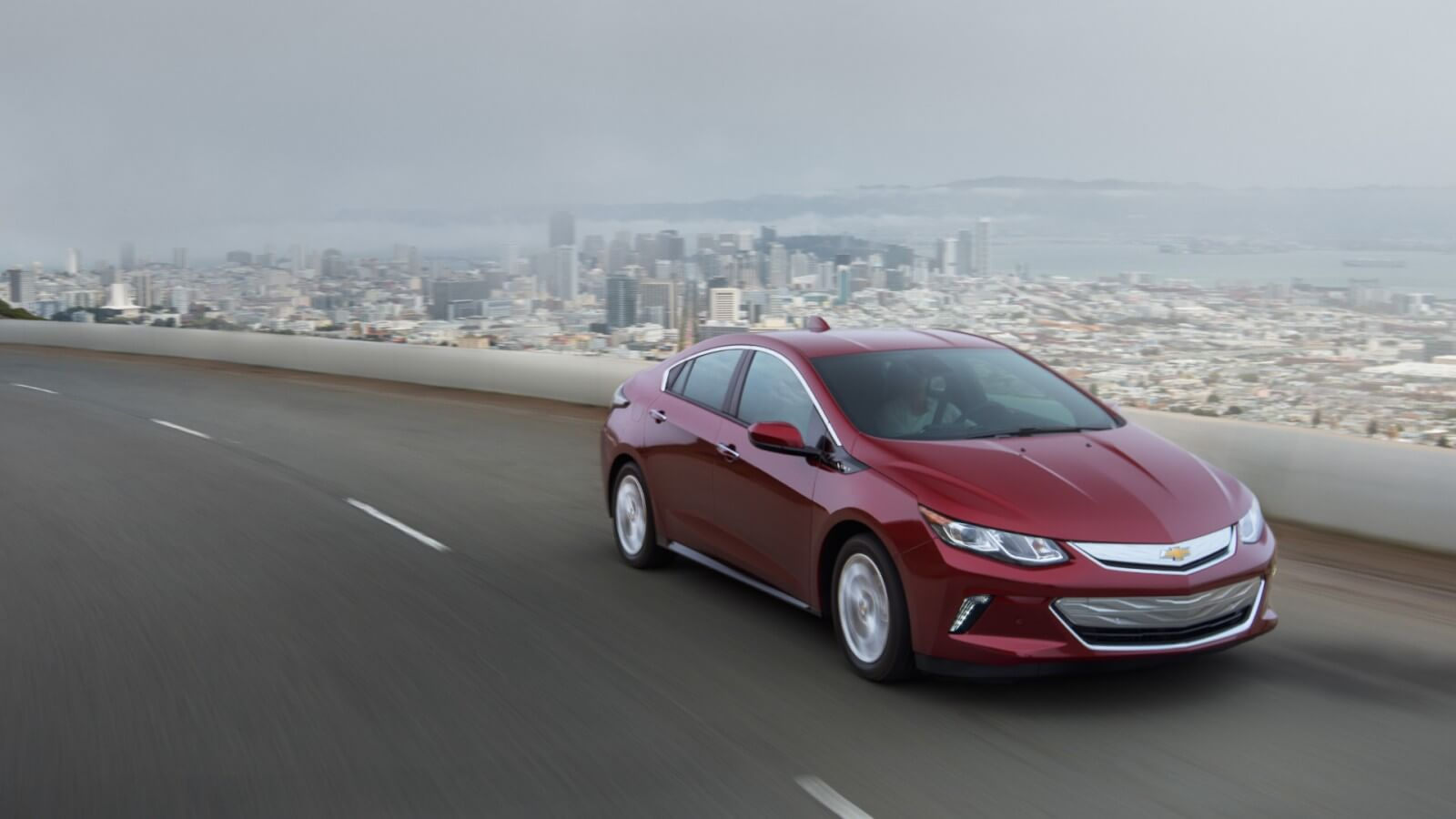 2016 Chevrolet Volt red model on the road