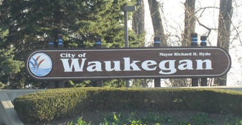 Welcome sign to Waukegan, IL