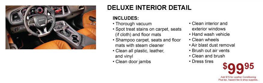 Interior Detail for Cars Trucks and SUV Tacoma Dodge